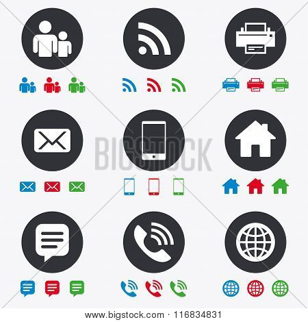 Contact, mail icons. Communication signs.