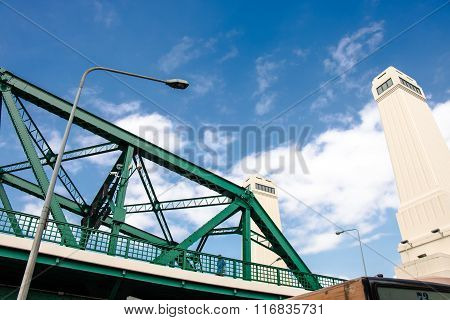 Memorial Bridge Across Choa Praya River, Bangkok Thailand.