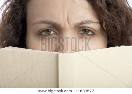 Scowl Woman with Book