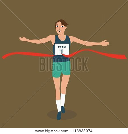 man running runner athlete finish crossing red ribbon line winner vistory success