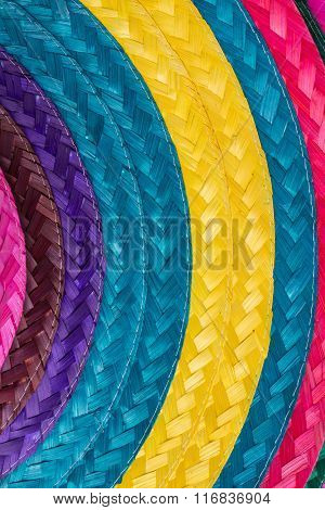 Colorful Background Of Woven Straw