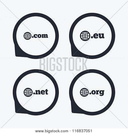 Top-level domains signs. Com, Eu, Net and Org.