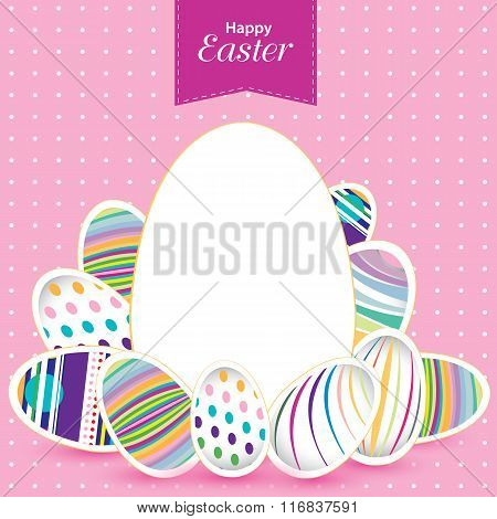 Easter day  for egg on vector design. Colorful pattern for eggs. Colorful egg on pink background.
