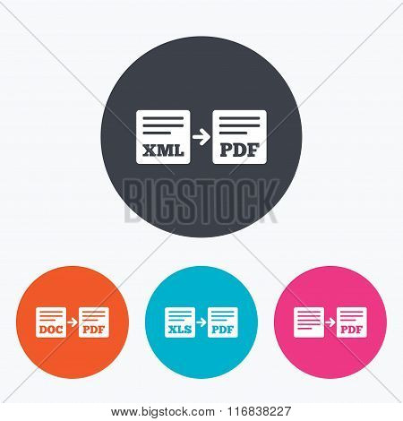 Export file signs. Convert DOC to PDF symbols.