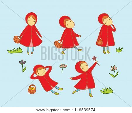 Set With Little Girl In Red