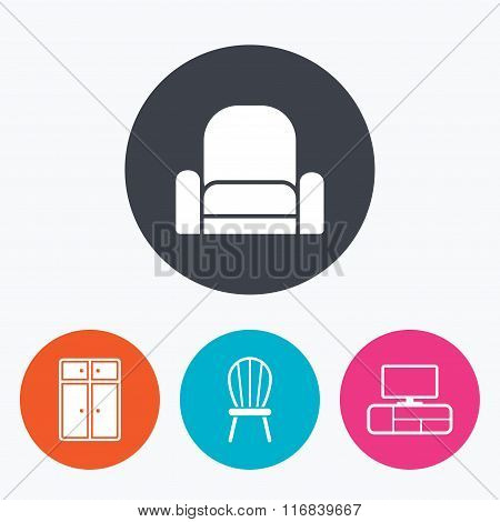 Furniture icons. Cupboard, chair and TV table.