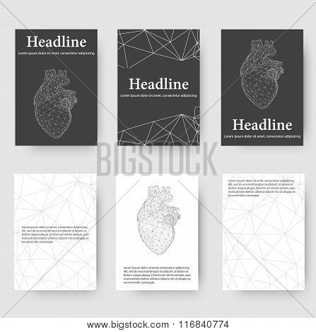 Abstract Creative concept vector background of the human heart. Polygonal design style letterhead an