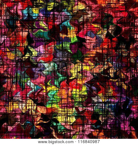 Stained Glass Background With Grunge Black Grid On Rainbow Backdrop