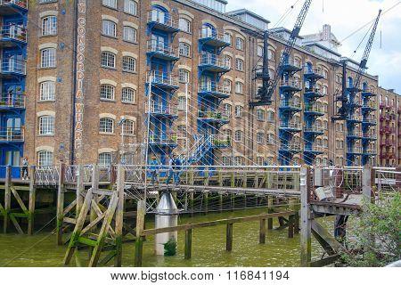 LONDON, UK - APRIL 30, 2015: Apartment block on the River Thames