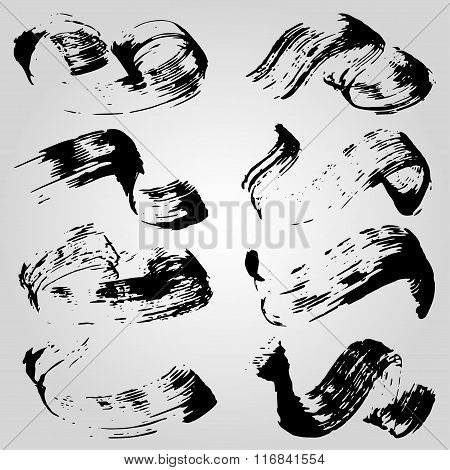 Collection Of Monochrome Ink Blots On A Light Background Vector Illustration