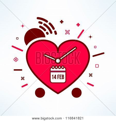 Vector valentines alarm clock reminder in modern flat design. Colorful timer icon made of heart