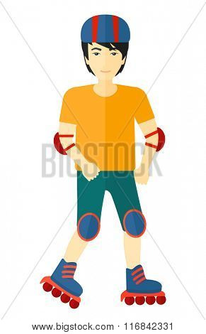 Sporty man on roller-skates.