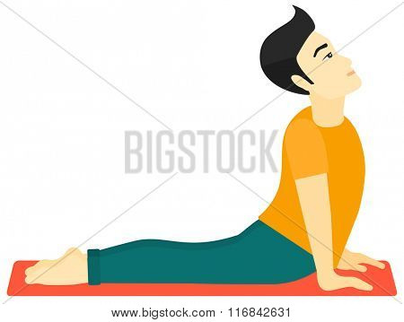 Man practicing yoga.