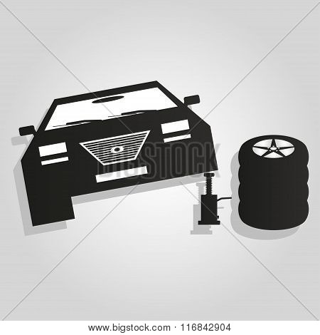 Car On A Jack Icon Vector Illustration