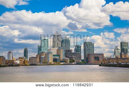 Canary Wharf view in sunny day. view from the River Thames