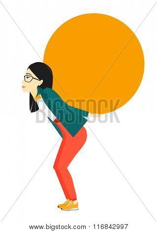 Woman carrying big ball.