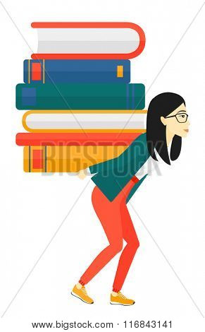 Woman with pile of books.