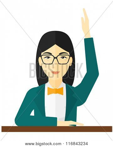 Woman raising her hand.