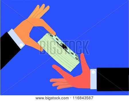 Hand handing a bundle of cash to the hand of another person