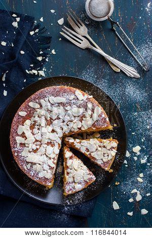 Almond Cake On Dark Blue Background
