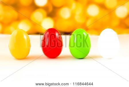 Fancy Or Colorful Of Egg In Yellow Bokeh Light Background. Soft Focus
