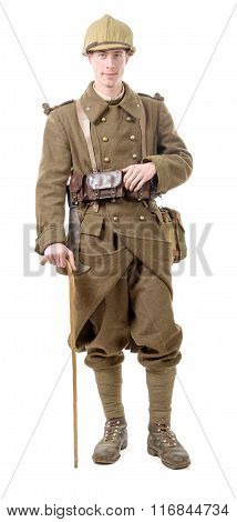 40S French Soldier With A Flag, Front View, Isolated On A White Background