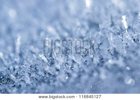 Naturally Forming Ice Crystals In Cold Temperatures