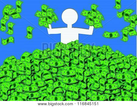 Awash in Cash. Illustration of a happy, jubilant person waist-deep in cash or banknotes