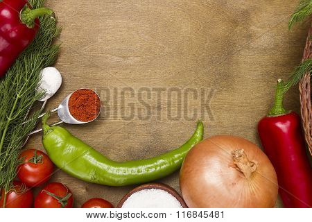 Kitchen Surfaces With Vegetables And Spices
