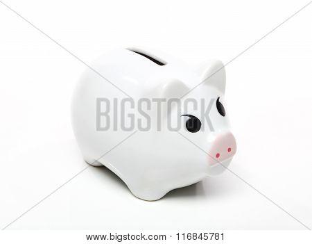 White Piggy Bank Isolated On White Background