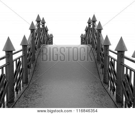 Iron pedestrian bridge full face on white background. 3d renderi