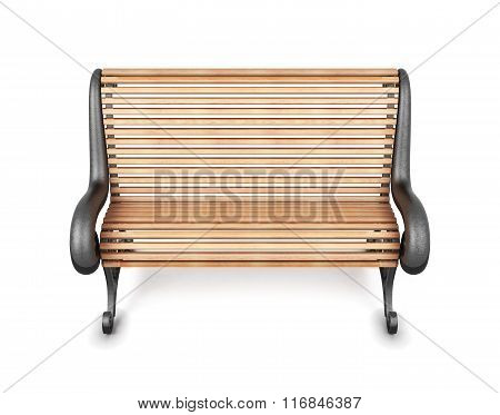 Wooden bench isolated on white background. 3d rendering