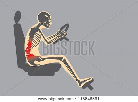 Back pain because wrong posture in driving