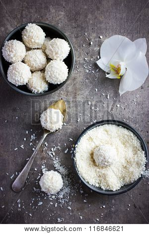 Delicious Homamade White Chocolate And Coconut Candy Balls