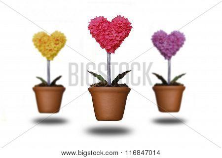 Tree Shaped Heart In Clay Pots