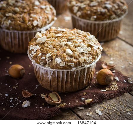 Delicious Oat And Nut Muffin