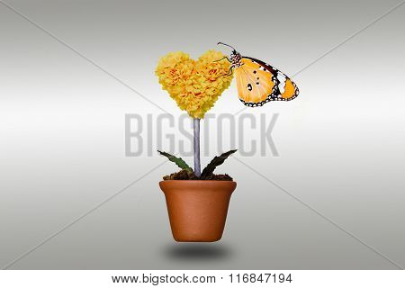 Flower Shaped Heart And Butterfly