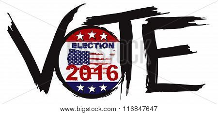 Vote 2016 Election Ink Brush Illustration
