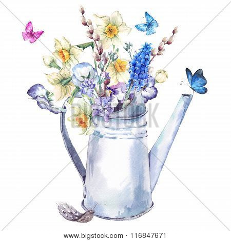 Spring Bouquet With Daffodils, Pansies, Muscari And Butterflies