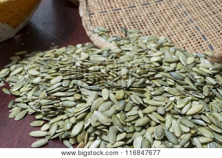 Traditional Harvest Of Pumpkin Seeds