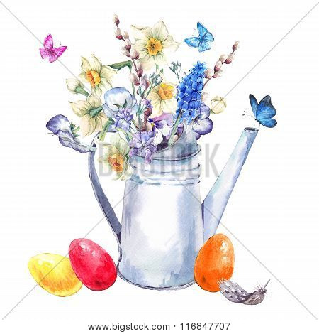 Vintage Happy Easter Greeting Card With Spring Bouquet