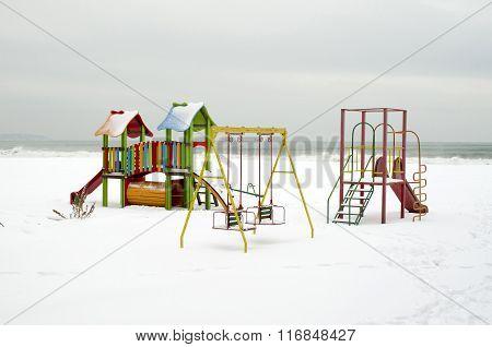 Snow Playground On The Beach In Winter