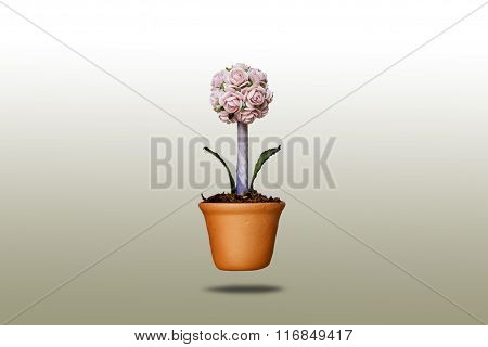 Artificial Flowers In Clay Pots