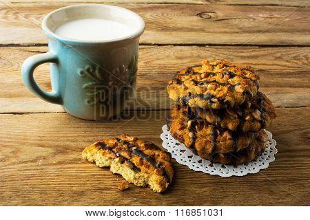 Cookies Coating Chocolate And Milk