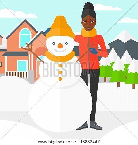 Woman posing near snowman.