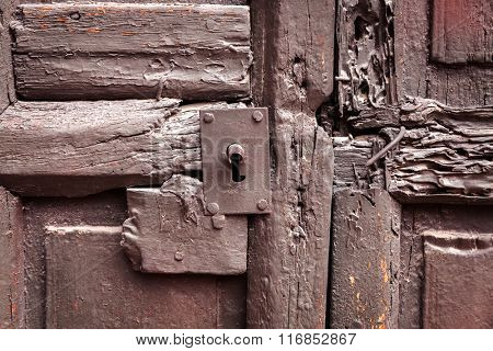 keyhole on an old wooden door