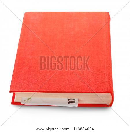 Red book with nested euro banknote, isolated on white. Stash of money