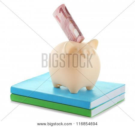 Piggy bank with banknote on top of books isolated on white