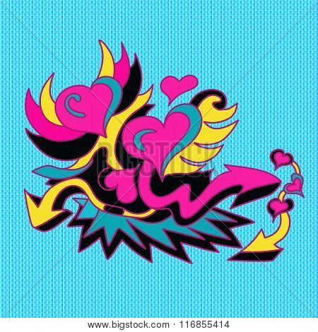 Psychedelic Colored Graffiti Pattern On A Blue Background Vector Illustration