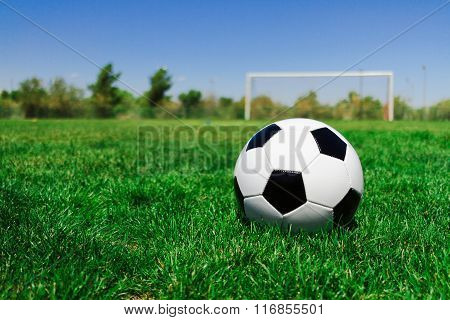 Soccer Ball With A Goal At A Field